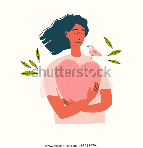 Vector illustration of a girl portrait. Girl in blue pants and beige blouse holding a heart. Hand-drawn illustration of mental health. Self-love. Peace of mind.