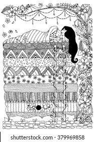 Vector illustration of a girl, the princess and the pea zentangl, dudling, Doodles art zenart. Sleeping girl zentangl, floral frame.  Black  and white. Adult coloring books