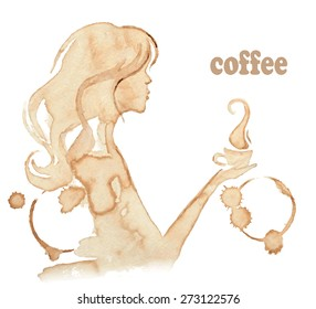 Vector illustration of a girl profile. Young woman holding a cup of tea or coffee.