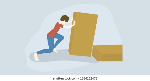 Vector Illustration girl pushes a large mountain of cardboard boxes.Warehouse Concept.Experiment of Pushing Objects,Online Education Materials