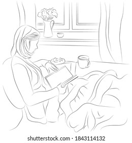 Vector illustration of a girl reading a book at home. Young woman reading a book by the window.