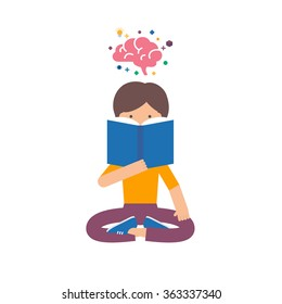 Vector illustration of a girl reading book, brain training, studying