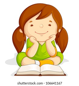 vector illustration of girl reading open book sitting on floor