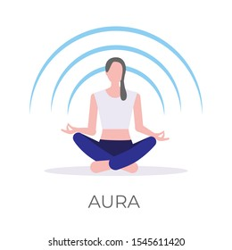 Vector illustration of a girl rebalancing her mental aura in a relaxing lotus yoga pose. Isolated on white background.