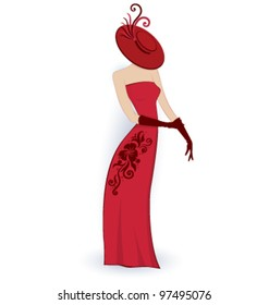Vector illustration of girl in red evening dress isolated on white