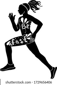 vector illustration girl runs. athletic girl in motion sketch. be quick. silhouette of a woman doing sports