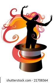 Vector  Illustration of Girl Silhouette dancing on a Magicians top hat
