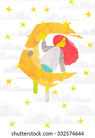 Vector illustration of a girl sitting on a moon with stars and clouds
