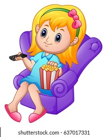 Vector illustration of Girl sitting on a sofa watching a movie and eating popcorn