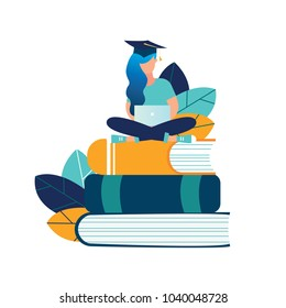 vector illustration girl student graduate sitting on books with laptop surrounded by greenery. graphic design for language courses, onlain English school