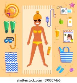 Vector illustration of girl sunbathing on the beach Vector icons of  hat, camera, journal, bag, phone, apple, starfish,  etc.