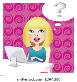 A vector illustration with girl that searching for something in internet