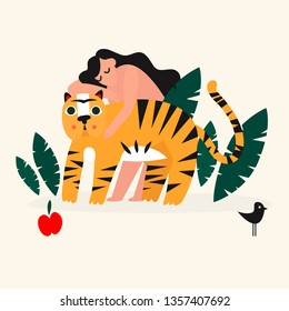 Vector illustration girl with tiger. Design element for summer party concept and other use