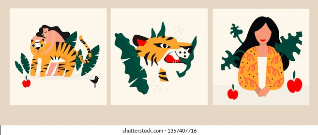 Vector illustration girl with tigers. Design element for summer party concept and other use.