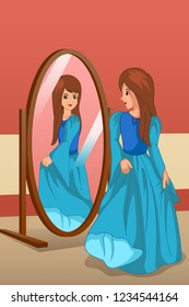 A vector illustration of Girl Wearing a Dress Looking at Mirror