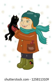 1fc4244bf9c Vector illustration of a girl in winter clothes holding a black cat.  Rejoice