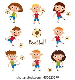 Vector illustration of girls and boys in shirt and short playing football. Set of cute cartoon kids kicking soccer ball isolated on white. Pretty football players. Collection of happy children.