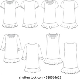 Vector Illustration of Girl's Dress templates