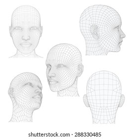 Vector illustration of a girl's head from different angles. Polygonal covering skin. Isolated.