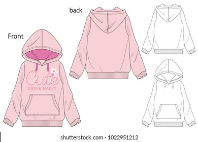Vector illustration of Girls Hooded  sweatshirt. Front and back views.