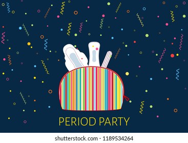 Vector illustration of girls kit with menstrual pads and tampon. First woman menstruation period party time. Menstruation period and feminine hygiene products. Celebrating daughters menses days