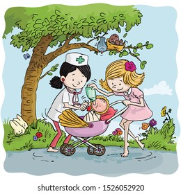 Vector illustration, girls playing doctor with baby doll in stroller, cartoon concept.