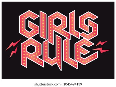 vector illustration girls rule slogan graphic design for t shirt print