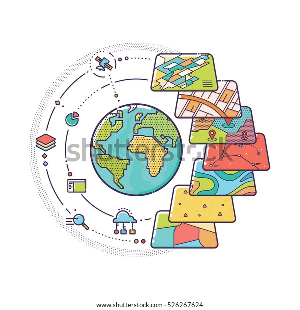 Vector Illustration Gis Spatial Data Layers Stock Vector