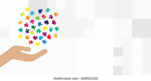 vector illustration of giving hand and jigsaw puzzle pieces for problem solving and charity