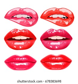 vector illustration of a glamour sensual female lips set