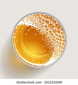 Vector illustration. A glass of beer. Top view. Drink in a glass. View from above.