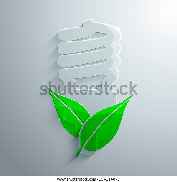 Vector illustration of glass bulb and leaves