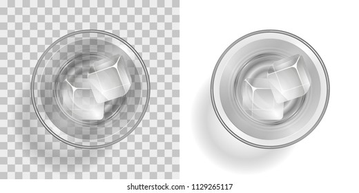 Vector illustration. A glass with a drink and ice on a transparent background. Top view.
