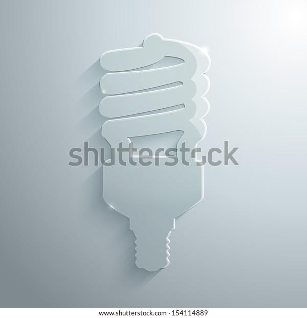 Vector illustration of glass energysaving bulb
