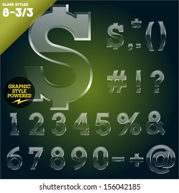 Vector illustration of Glass font powered graphic styles. Set 8-3