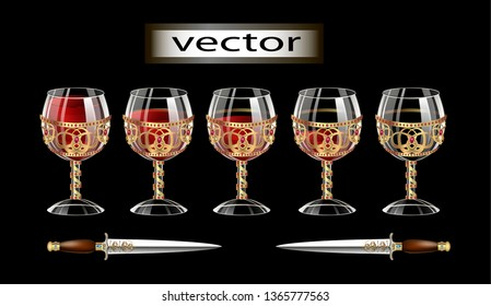 Vector illustration of glass and gold Cup vintage jewel Grail Cup, with precious stones and red wine isolated on black background