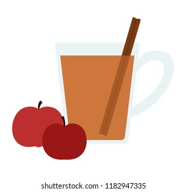 Vector illustration of a glass of hot cider and two red apples