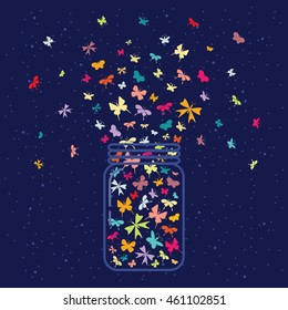 vector illustration / glass jar with plenty of butterflies inside on dark night sky background