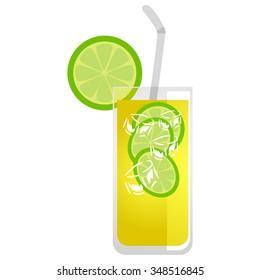 Vector Illustration of Glass of Lemonade