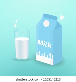 Vector illustration with glass of milk and board box of milk. Template for poster, web and advertising banner, article, promotion or design packaging.