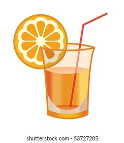 Vector illustration of the glass of orange cocktail over the white background
