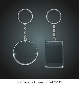 Vector illustration of a glass oval and rectangular keychain with a ring for a key, isolated on a gray background. Ideal template for branding, identity guidelines and promo campaigns.