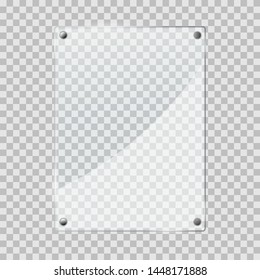 vector illustration of glass or plastic transparent panel on checkered background