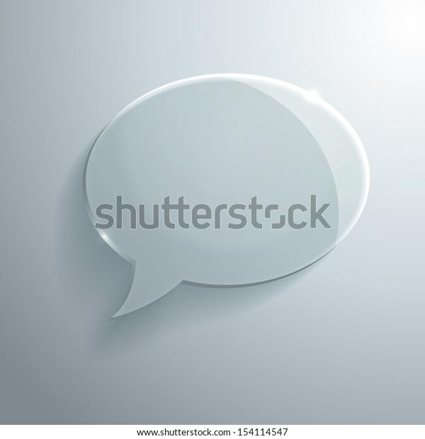 Vector Illustration of Glass Speech Bubble