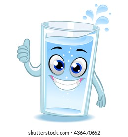 Vector Illustration of Glass of Water Mascot doing ok hand sign