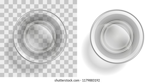 Vector illustration. Glass of water on a transparent background. Top view.