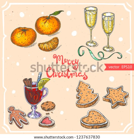 Vector Illustration Glasses Champagne Christmas Cookies Stock Vector
