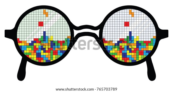 vector illustration of glasses with colorful blocks game puzzle reflection for gameplay concept