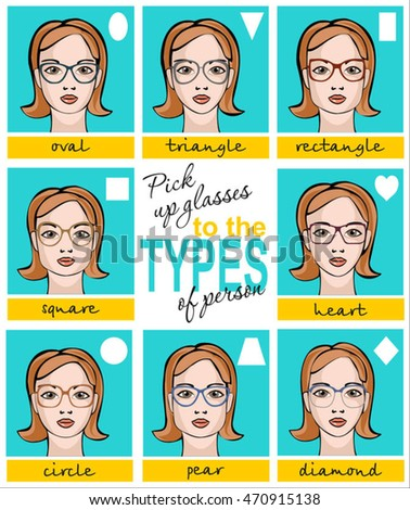 134c9d5a84f Vector illustration of glasses for different faces. Womens Sunglasses Shapes  for different face shapes.