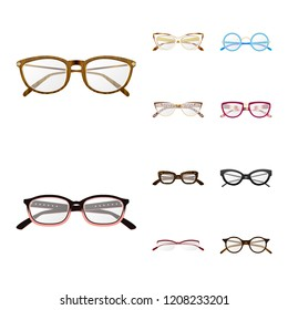 Vector illustration of glasses and frame icon. Set of glasses and accessory stock vector illustration.